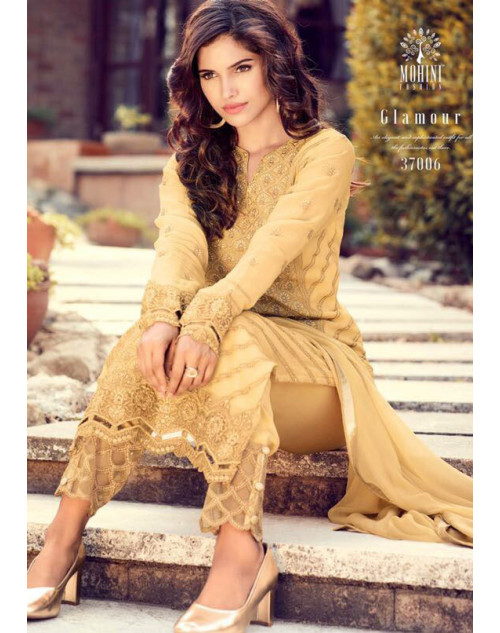 Designer Yellow Georegette Fancy Salwar Kameez
