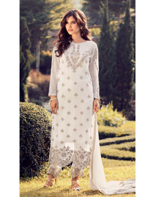 Designer Off-White Georegette Fancy Salwar Kameez