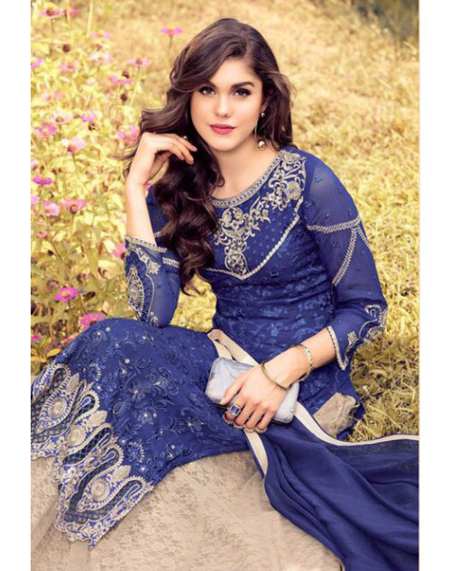Designer Blue Georegette Fancy Salwar Kameez