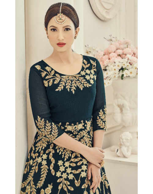 Gauhar Khan Faux Georgette SeaGreen Floor Length Dress Materials