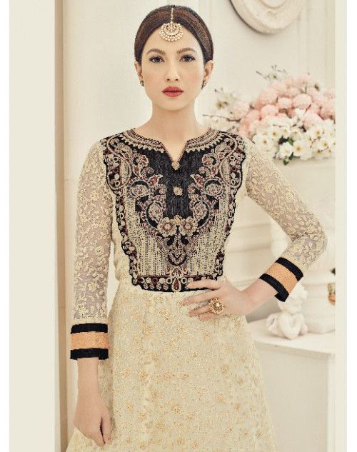Gauhar Khan Heavy Net Off-white Floor Length Dress Materials
