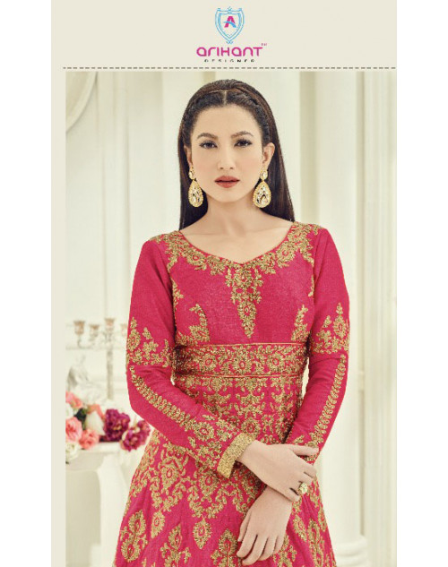Gauhar Khan Heavy Slab Silk Tomato Floor Length Dress Materials