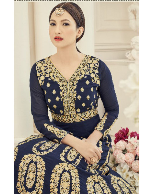 Gauhar Khan Faux Georgette Navy Floor Length Dress Materials