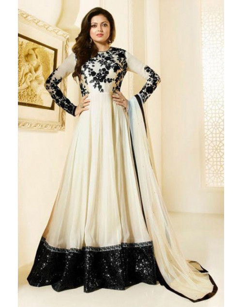 Madhubala as Drashti Dhami White Designer Georgette And Dupion Suit