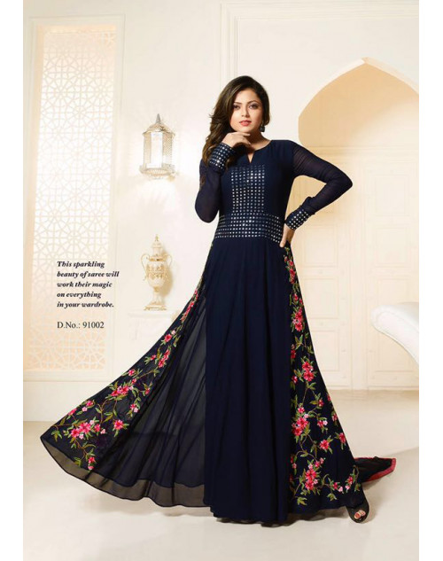 Madhubala as Drashti Dhami Navy Designer Georgette Suit