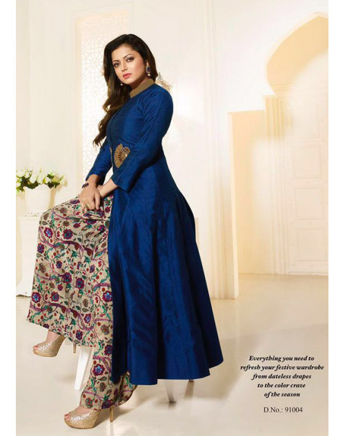 Madhubala as Drashti Dhami Blue Designer Pure Chanderi Silk Suit