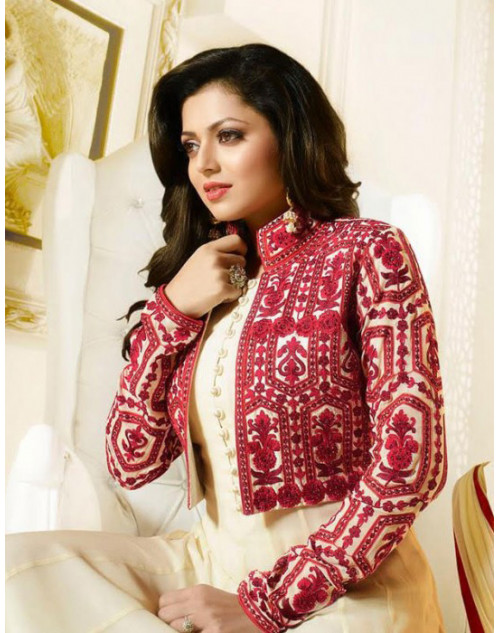 Madhubala as Drashti Dhami Cream And Crimson Designer Georgette Suit