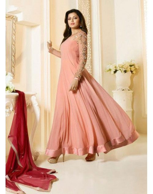 Madhubala as Drashti Dhami Salmon Designer Georgette And Net Suit