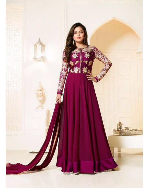 Madhubala as Drashti Dhami Purple Designer Georgette And Dupion Suit