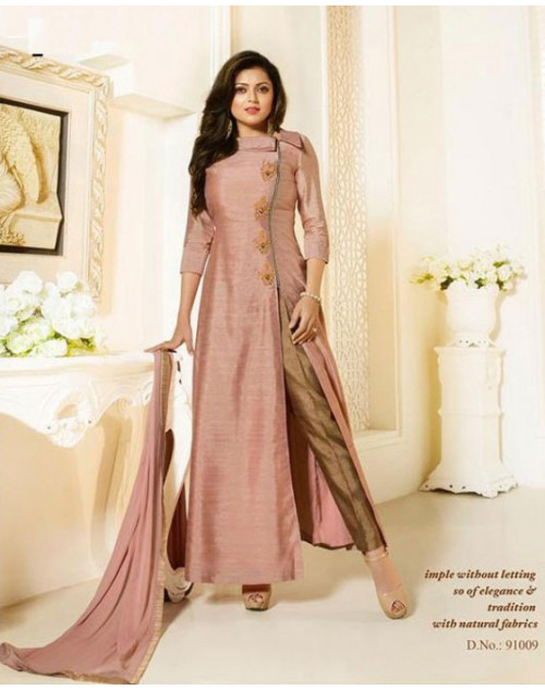 Madhubala as Drashti Dhami Light Pink Designer Canadian Silk Suit
