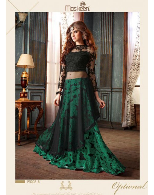 Black And Green Floor Length Net Designer Salwar Kameez