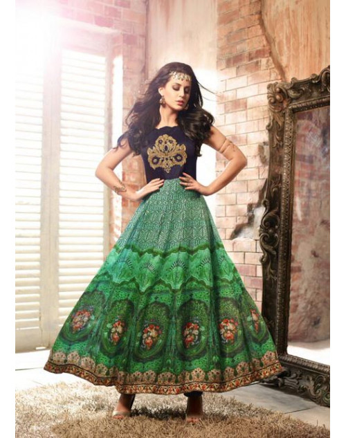 Black And Green Floor Length Pure Satin Designer Salwar Kameez