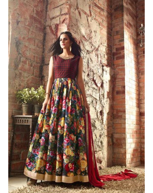 Sienna And Multi Floor Length Banarasi Silk Designer Salwar Kameez