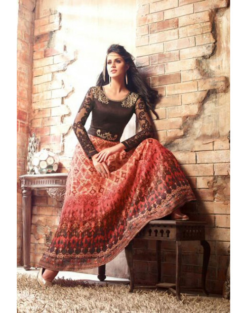 Brown And Salmon Floor Length Pure Satin Designer Salwar Kameez