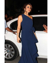 Preity Zinta one-shouldered blue Gown at Idea Filmfare Awards