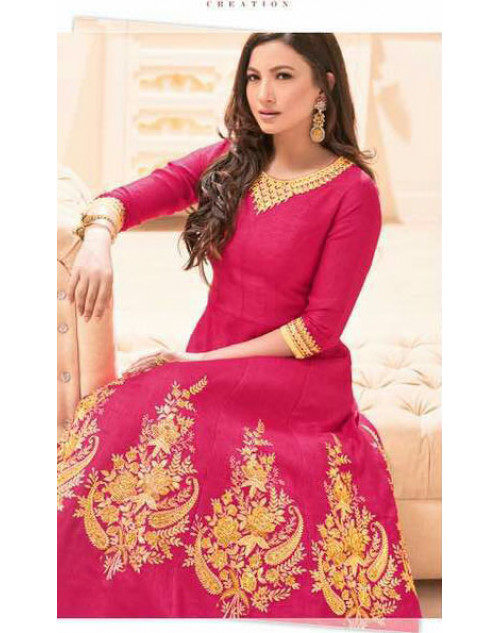 Gauhar Khan Heavy Italian Silk DeepPink Embroidered Dress Materials