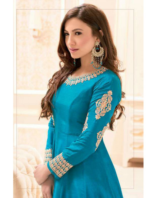 Gauhar Khan Banarasi Silk DarkTurquoise Embroidered Dress Materials