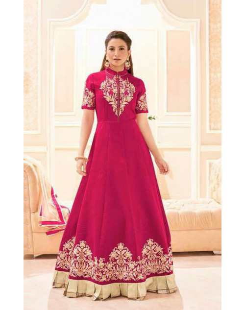 Gauhar Khan Banarasi Silk DarkPink Embroidered Dress Materials