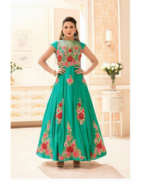 Gauhar Khan Twoton Heavy Silk Aquamarine Embroidered Dress Materials
