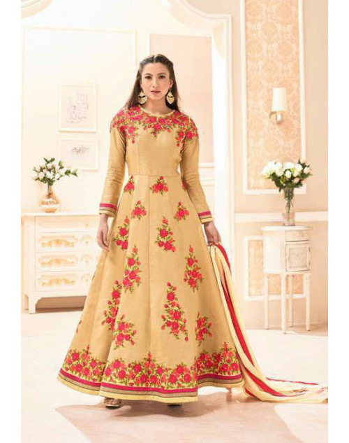 Gauhar Khan Pure Khadi Silk Cream Embroidered Dress Materials