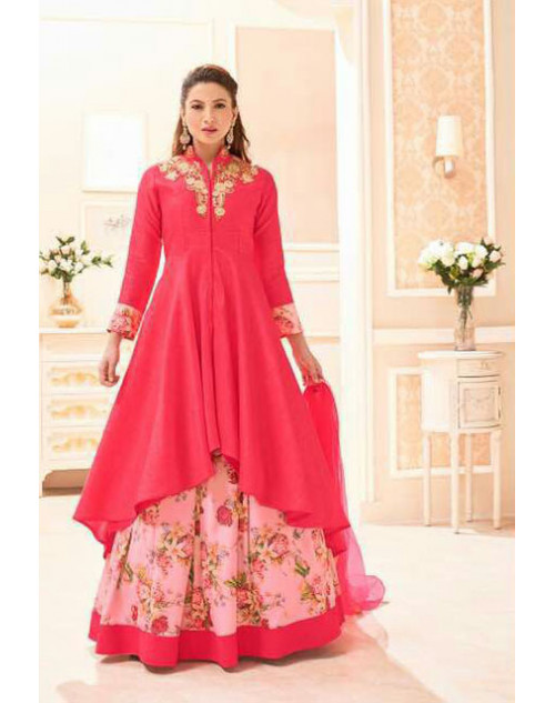 Gauhar Khan Pure Khadi Silk Pink Embroidered Lehenga