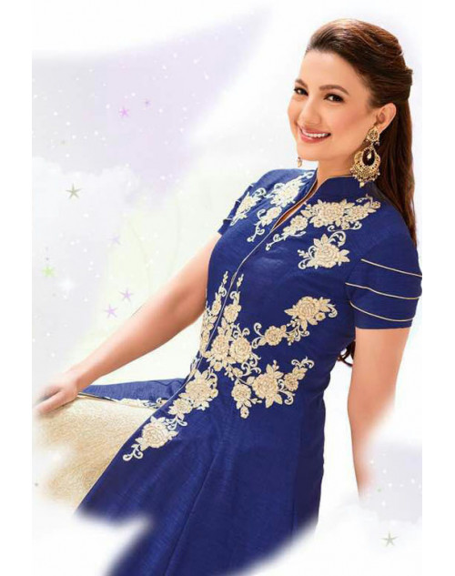 Gauhar Khan Heavy Banglori Silk Blue Embroidered Lehenga