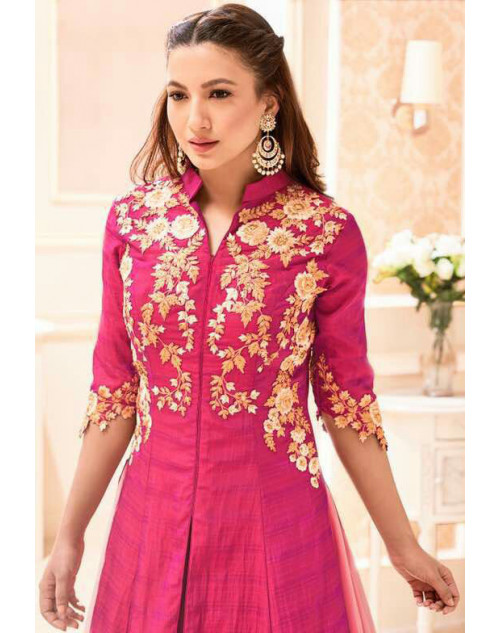 Gauhar Khan Heavy Phantam Silk Violet Embroidered Lehenga