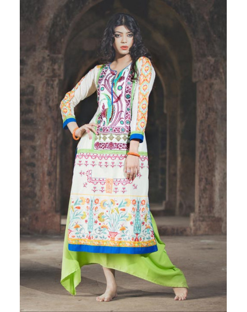 Ivory and Multi Cotton Lawn Kurti