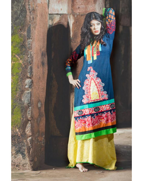 RoyalBlue and Multi Cotton Lawn Kurti