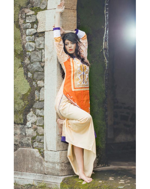 Beige and Orange Cotton Lawn Kurti