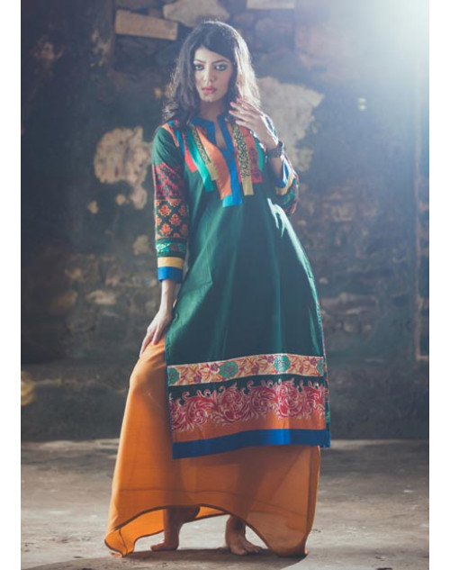 Green and Multi Cotton Lawn Kurti