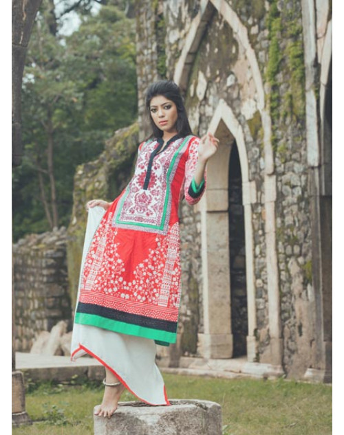 White and Red Cotton Lawn Kurti