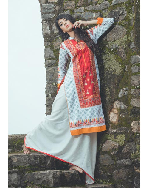 Red and SlateBlue Cotton Lawn Kurti