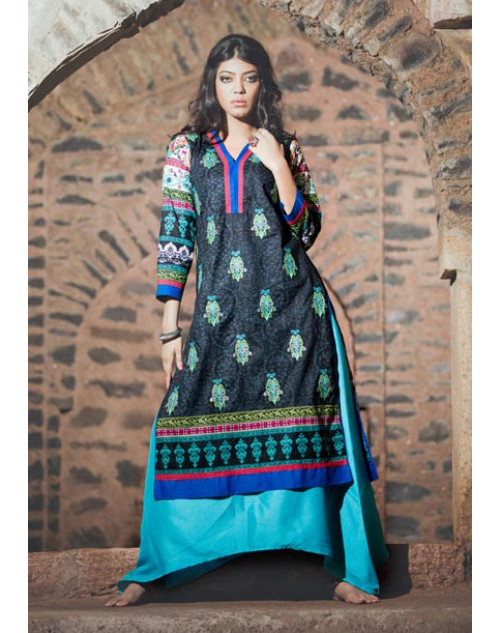 Black and Multi Cotton Lawn Kurti