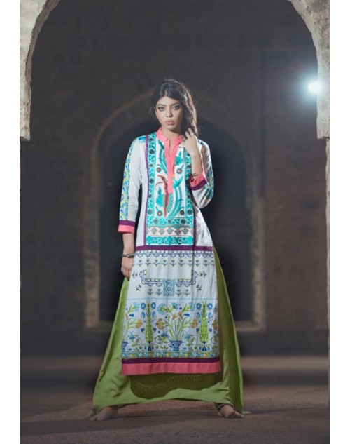Aqua and Multi Cotton Lawn Kurti