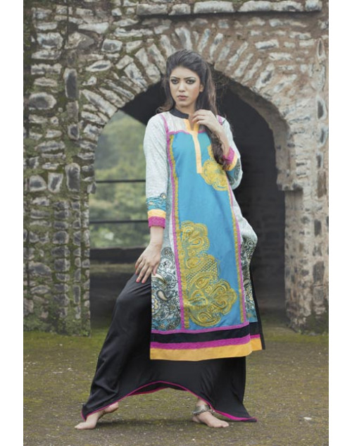 White and SkyBlue Cotton Lawn Kurti