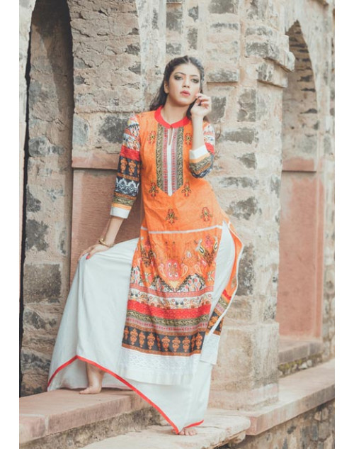Orange and Multi Cotton Lawn Kurti