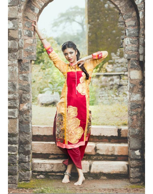 Yellow and Crimson Cotton Lawn Kurti