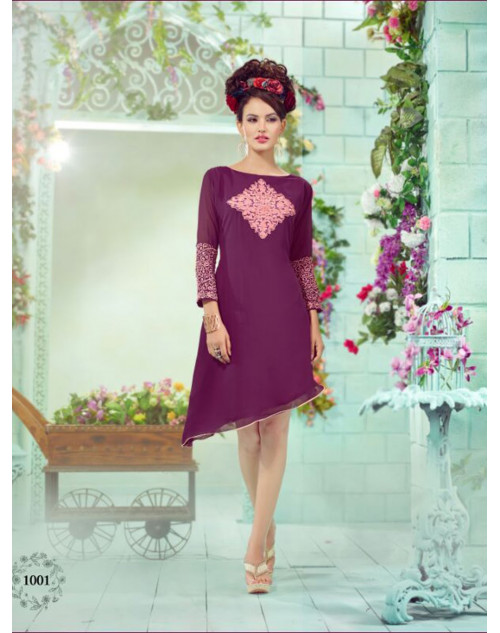Purple Georgette Embroidered Kurti