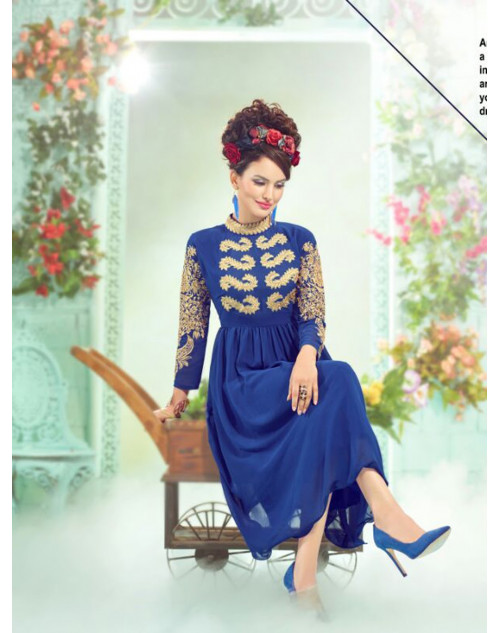 RoyalBlue Georgette Embroidered Kurti