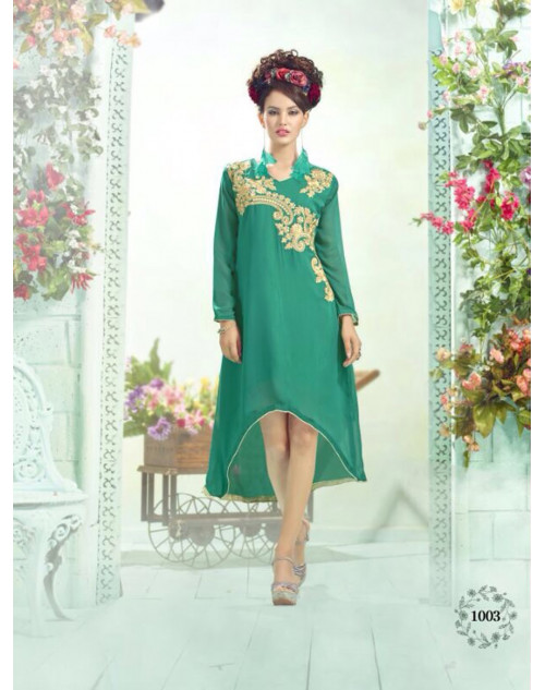 SeaGreen Georgette Embroidered Kurti