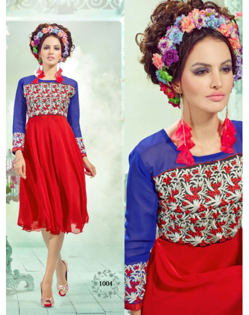 Red And Blue Georgette Embroidered Kurti