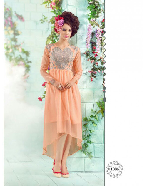 Orange Georgette Embroidered Kurti