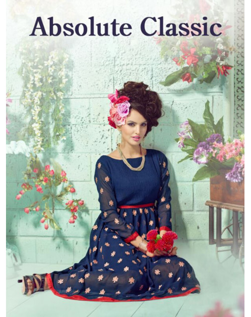 NavyBlue Georgette Embroidered Kurti