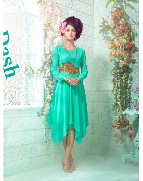 SpringGreen Georgette Embroidered Kurti