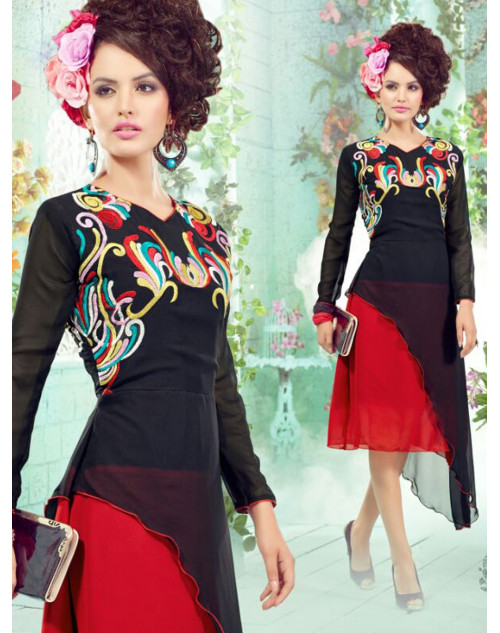 Black And Red Georgette Embroidered Kurti