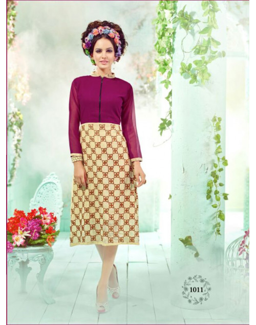 Magenta And Cream Georgette Embroidered Kurti