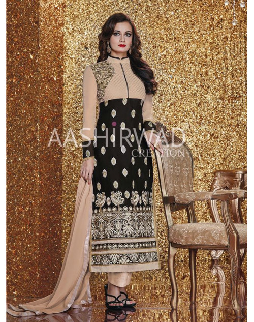 Dia Mirza Bisque And Black Georgette Designer Salwar Kameez
