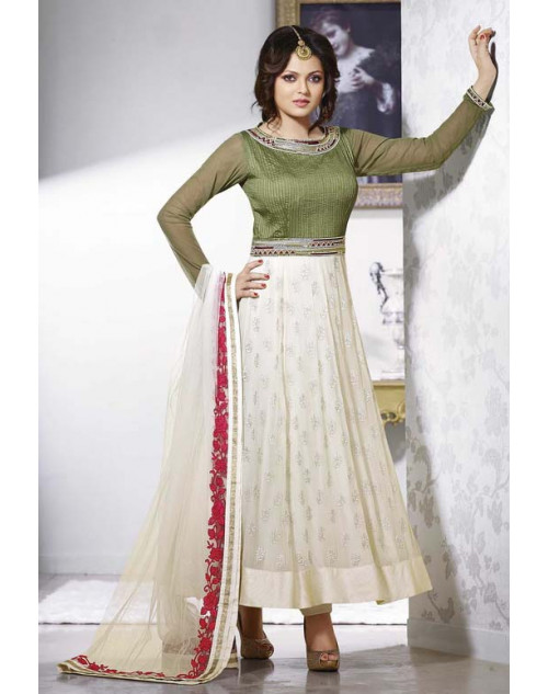 Drashti Dhami SeaGreen and White Semi Stitched Designer Suit
