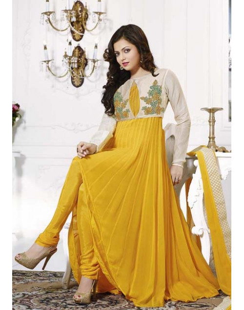 Drashti Dhami White and Yellow Semi Stitched Designer Suit